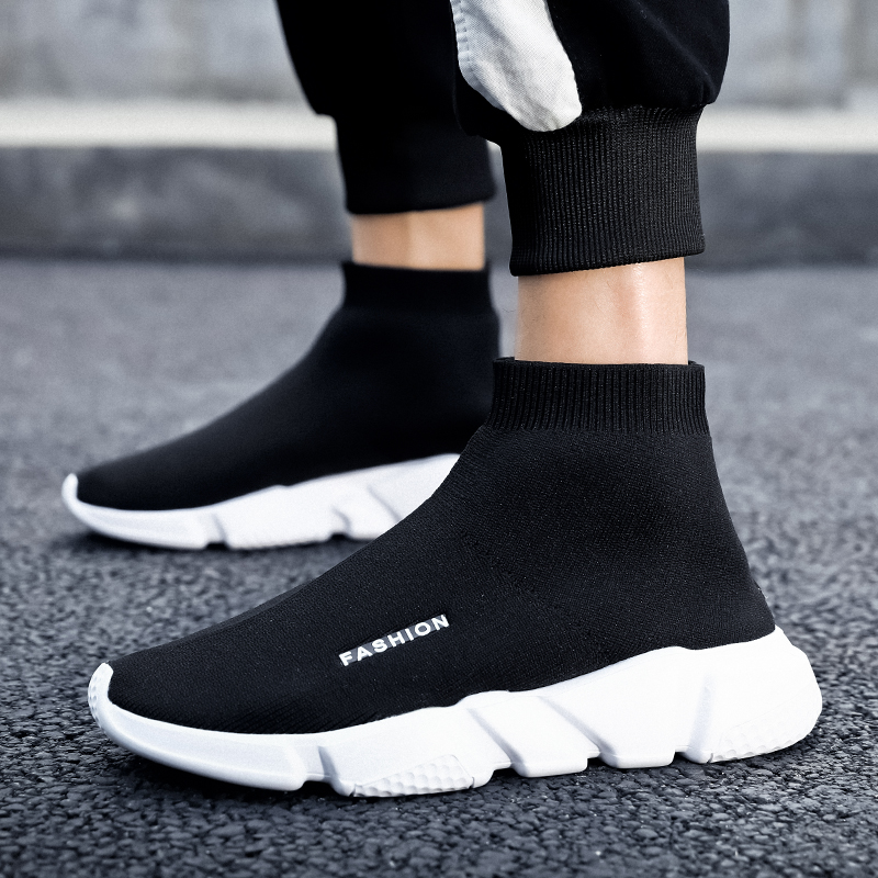 Light Sneakers Unisex Running Shoes Slip On Gypsophila Black Sneakers Men Training Trainers Comfortable Sock Shoes Sport  Women