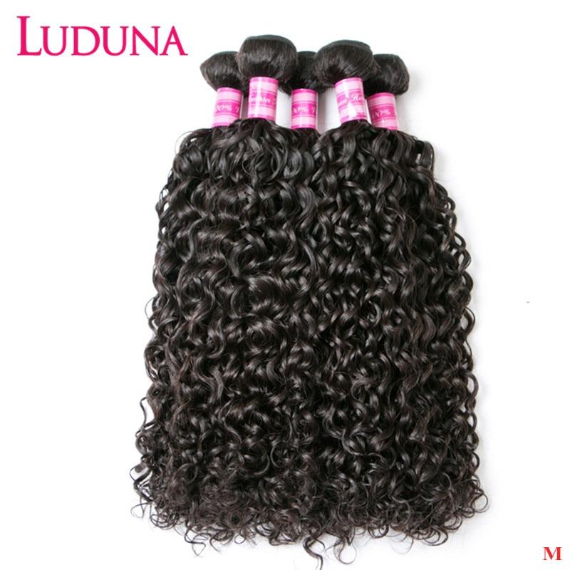 Luduna malayas-mechones de cabello humano postizo extensiones con ondas al agua, 1/3 mechones de pelo humano Remy de 8-28 pulgadas, extensión de cabello doble dibujado