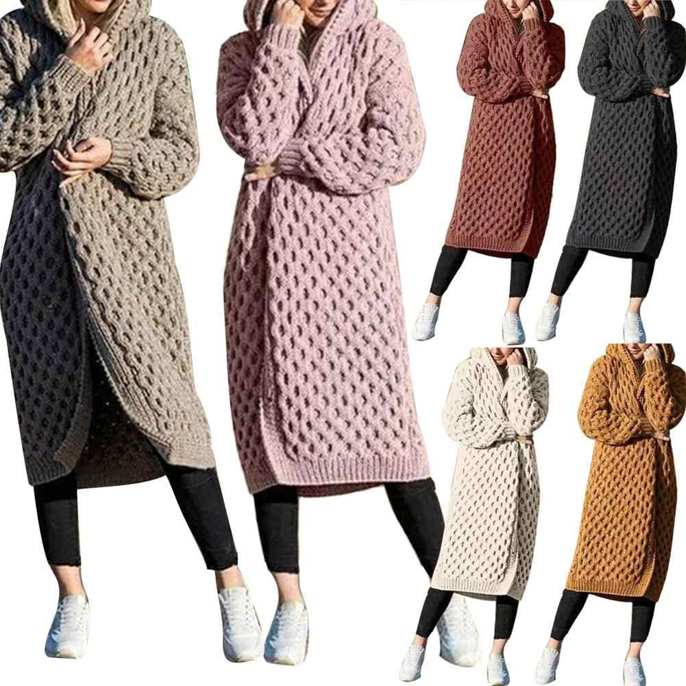 Mode Frauen Verdicken Gestrickte Pullover Strickjacke Winter Warme Lange Mit Kapuze Mantel frauen pullover mantel