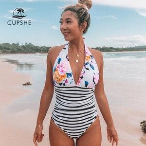 Image 1 - CUPSHE tutmak Accompained şerit tek parça mayo V boyun Backless Halter seksi Bikini 2020 bayanlar plaj mayo mayo
