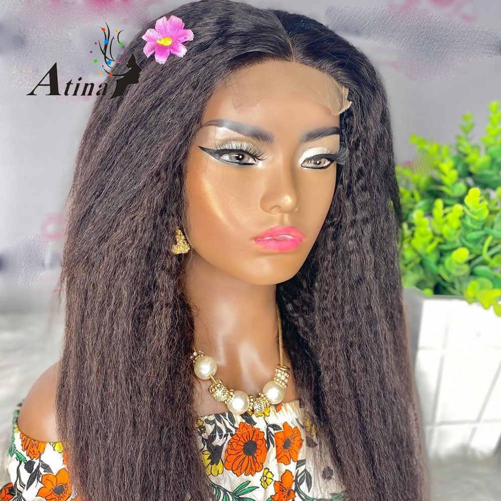 Парик из человеческих волос на сетке спереди 13x4, парик с отбеливающим узлом, парик с кудрявыми прямыми волосами 4x4, бразильский парик без повреждений для чернокожих женщин Atina