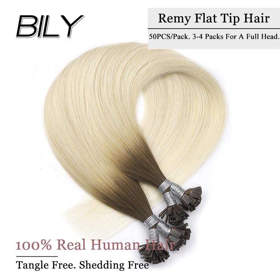 Strict Bily Ombre Flat Tip Machine Remy Keratin Human Hair Extensions 22 26 50 Strands Straight Pre Bonded Fusion Hair Capsules