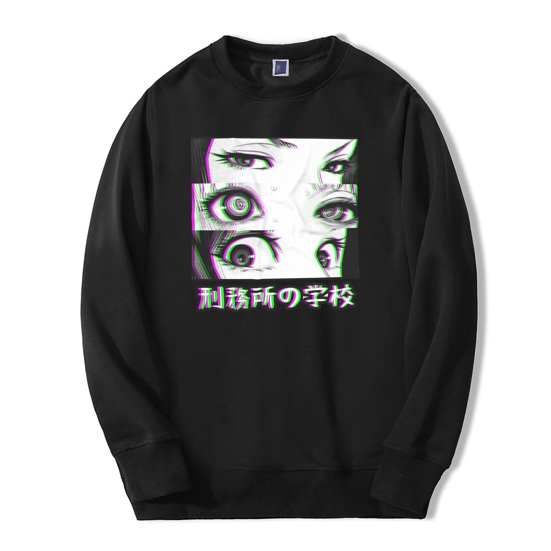 Japan Anime Prison School Eyes Sad Men Sweatshirt Hoodies 2019 Spring Winter Hot Sale Casual Loose Fit Hip Hop Fashoin Pullover