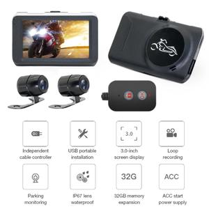 Image 2 - Motorcycle Camera DVR Locomotive Recorder Front and Rear Double Lens Dash Cam with Dual track Recording Hidden Driving Recorder