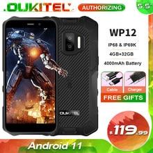 Oukitel wp12 ip68 impermeável android 11 smartphone robusto 5.5 hd hd hd + display 4gb + 32gb helio a22 nfc 4000mah telefone móvel