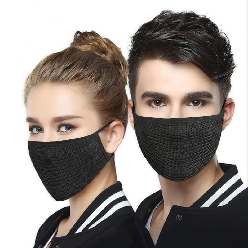 Unisex Mouth Mask Solid Black Print Kawaii Face Cover Half Fashion Cute Breathable Warm Cotton Windproof Anti-Dust Masks FFP2