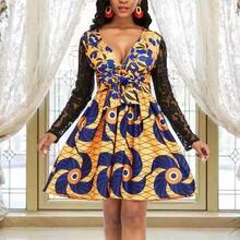Женское платье с принтом глубоким v образным вырезом кружевными
