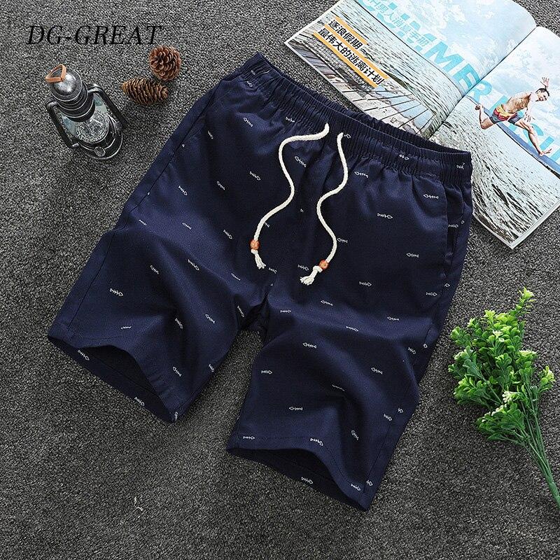 Mens Prints Shorts Summer Casual Drawstring Breathable Straight Cargo Shorts High Quality Male Elastic Waist Short