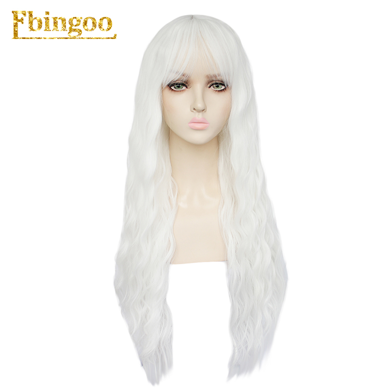Ebingoo Long Deep Roll Wave Blonde Black White Pink Blue Synthetic Wig With Neat Bangs For Women High Temperature Fiber