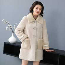 Winter Women Warm Teddy Lazy Coats Faux Fur Wool Blend Fabric Overcoat Female Thic Berber Fleece Outerwear Heavy Style Jackets