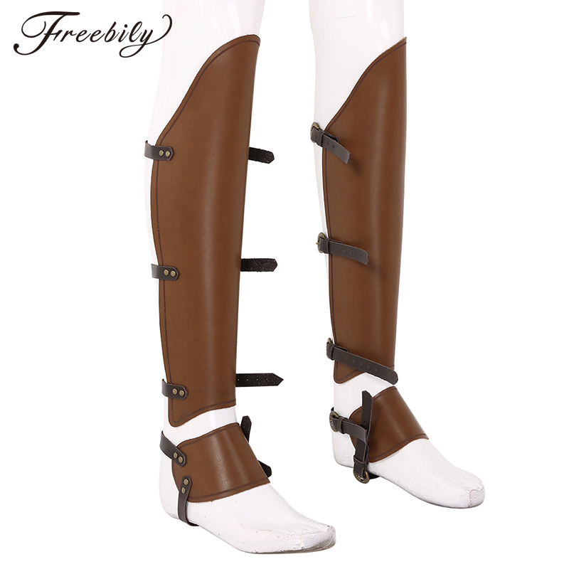 Medieval Steampunk Synthetic Leather Half Chaps Leg Gaiter Shoe Spats Boot Covers Cavalier Warrior Renaissance Costume Accessory