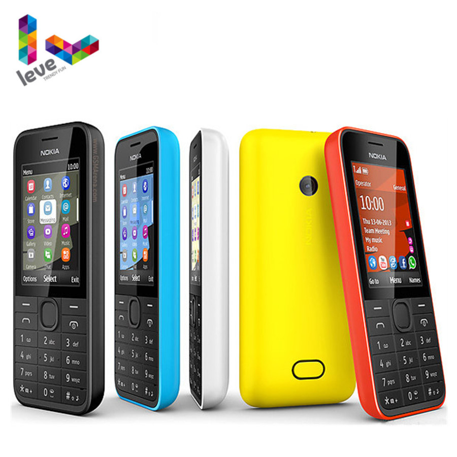 Used NOKIA 208 Single Sim Version Phone GSM Support Hebrew Arabic Russian Keyboard Unlocked Mobile Phone