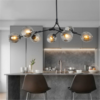 Modern led chandelier metal Molecular Lamp Pendant Ceiling Decor Glass Ball Lamp Living Room Bedroom Dining Room light fixtures