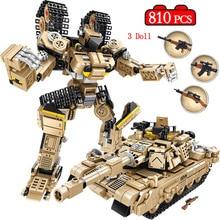 810 Pcs Deformation Robot Building Blocks Military WW2 M1A2 Abrams Main Battle Bricks Tank Toys for Boys