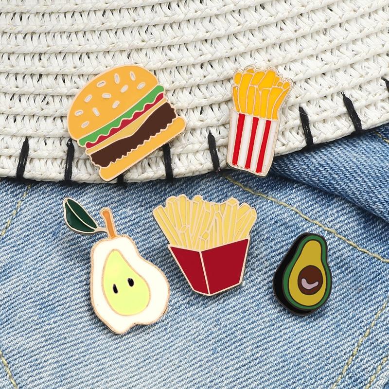 Avocado Pear Carrot Brooch Burger French fries Enamel Pin Food Fruit Cartoon Funny Button Badge Women Men Bag Clothes Lapel Pin