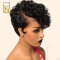 13x4 Short Curly Lace Front Human Hair Wigs Pixie Cut Wig 130% Pre Plucked Bob Wig Remy Brazilian Low Ratio King Rosa Queen