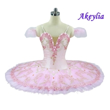 Free shipping pink ballet tutu with cute flowers professional classical for girls pancake nutcracker Kid
