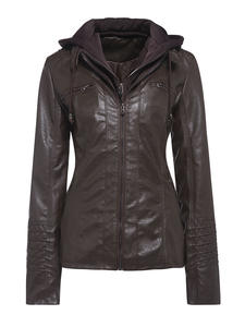 Coat Hoodies Motorcycle-Jacket Faux-Leather Gothic Winter Outerwear Autumn Black HOT