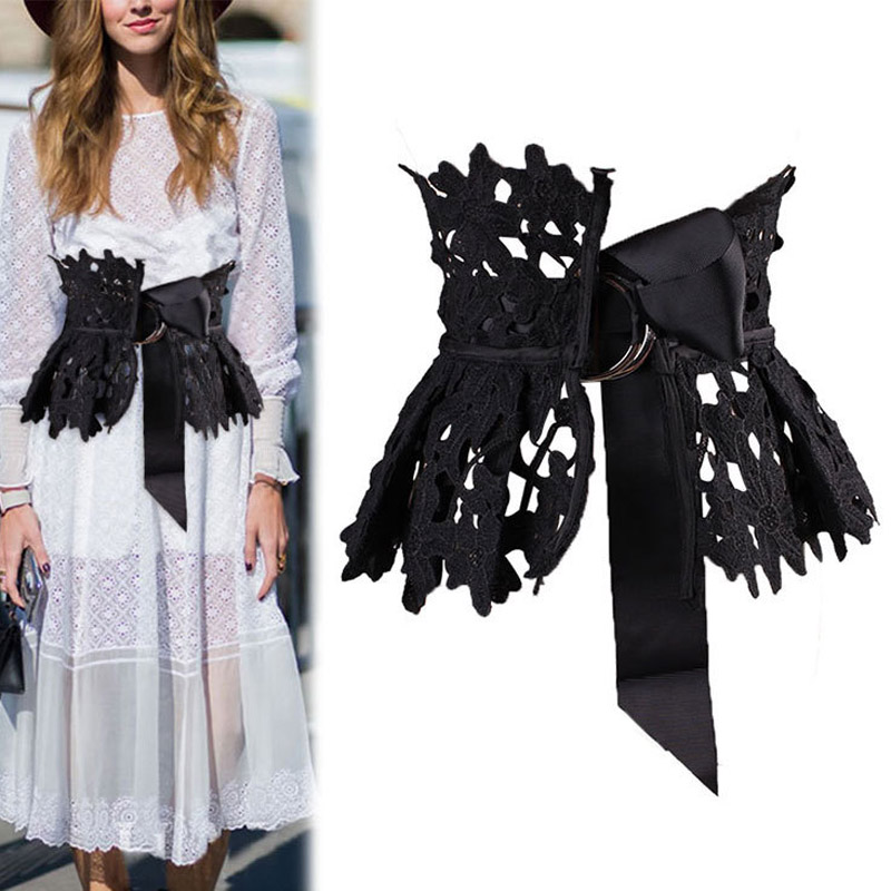 2020 New Lace Pleated Wide Belt Self Tie Wrap Waistband Skirt Peplum Waist Belt Fashion Girdle Tide All-match Spring Summer