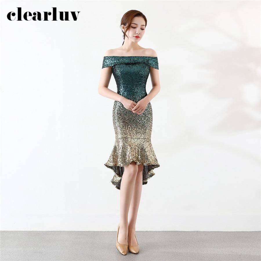 High Low Prom Dress Gradient Sequins Vestidos De Gala DX328-4 2020 Plus Size Elegant Party Gown Short Front Long Back Prom Gowns