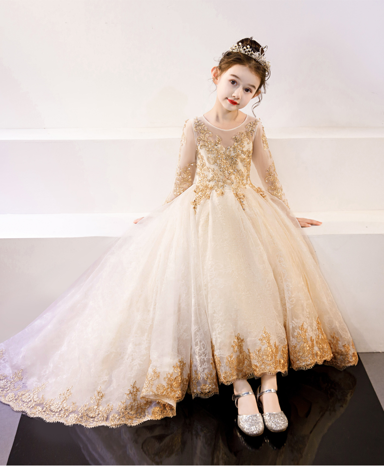 Long Sleeve Flower Girls Dress Golden Lace Beading A Line Ball Gowns Gold Lace Applique Champagne Long Sleeve Party Pageant 2020