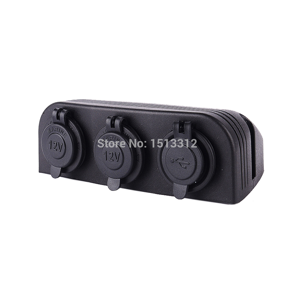 lowest price DIY Waterproof 12 24V Motocycle Car Dual USB Charger Adapter   Dual Cigarette Lighter Sockets