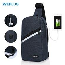 WEPLUS torby crossbody dla mężczyzn kobiety wodoodporna torba na klatkę piersiowa opakowanie z zabezpieczeniem przeciw kradzieży torba na ramię mała torba dla człowieka przewód słuchawek USB Port