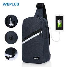WEPLUS حقائب كروسبودي للرجال النساء مقاوم للماء حقيبة صدر للرجال حزمة مكافحة سرقة حقيبة كتف حقيبة صغيرة للرجل USB سماعة سلك ميناء