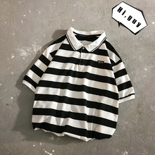 2019 summer new casual striped short-sleeved round neck shirt loose temperament trend cotton цены