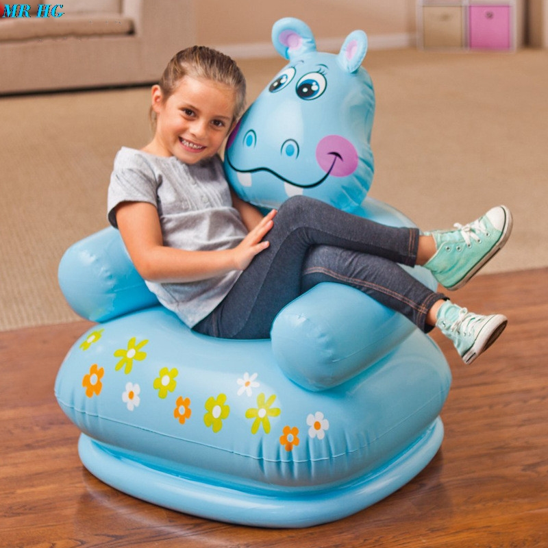 Cute Portable Cartoon Animal inflatable sofa Children Seat Tiger bear For Kid 3-8 Years Old Lovely Kids' PVC Chairs Baby Seats