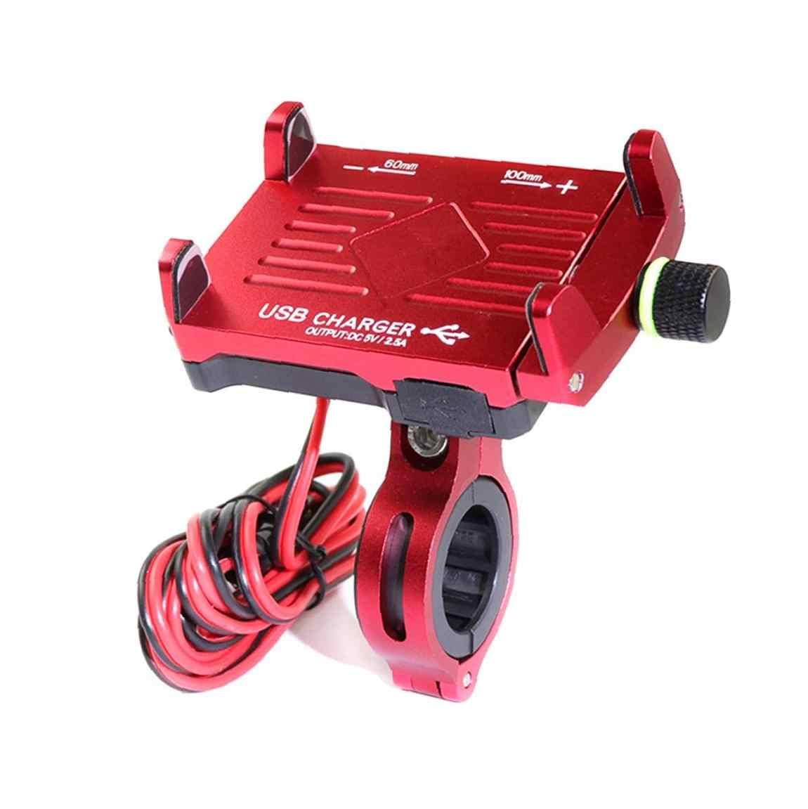 Sepeda Motor Ponsel Mount Pemegang Telepon dengan Usb Adaptor Charger Telepon Sepeda Motor Aksesori Ponsel Pemegang 1 Pcs Merah