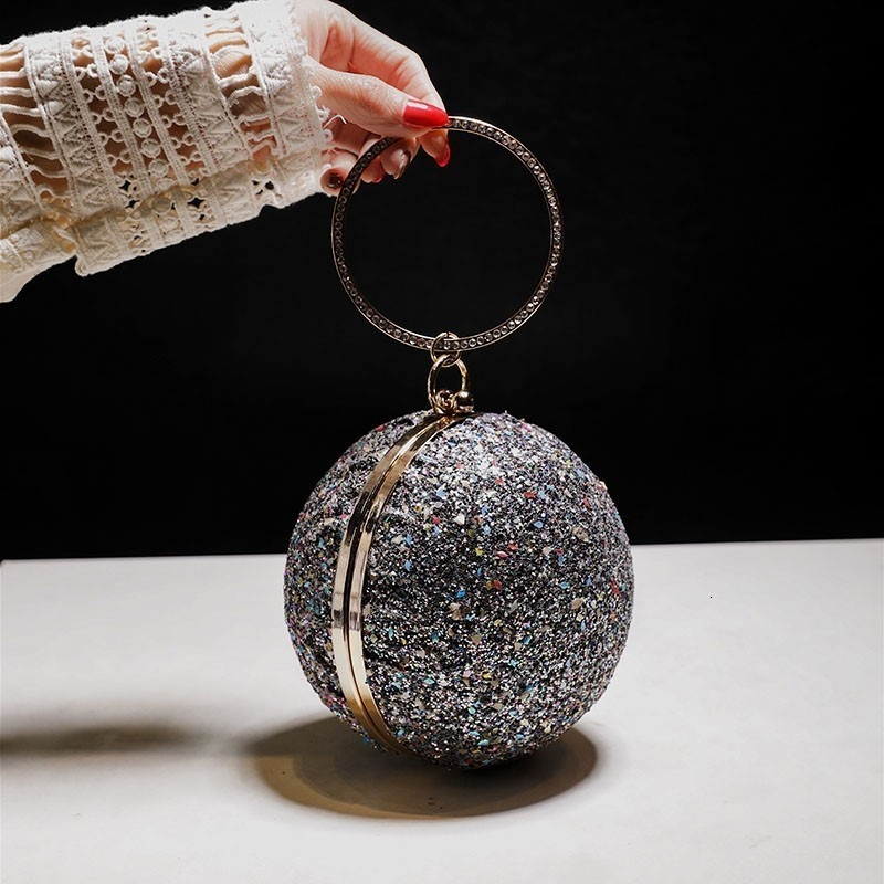 Fashion Round Chains Evening Bags Designer Handle Women Handbags Luxuey Sequins Crossbdoy Bag Lady Party Purses Day Clutchs 2019