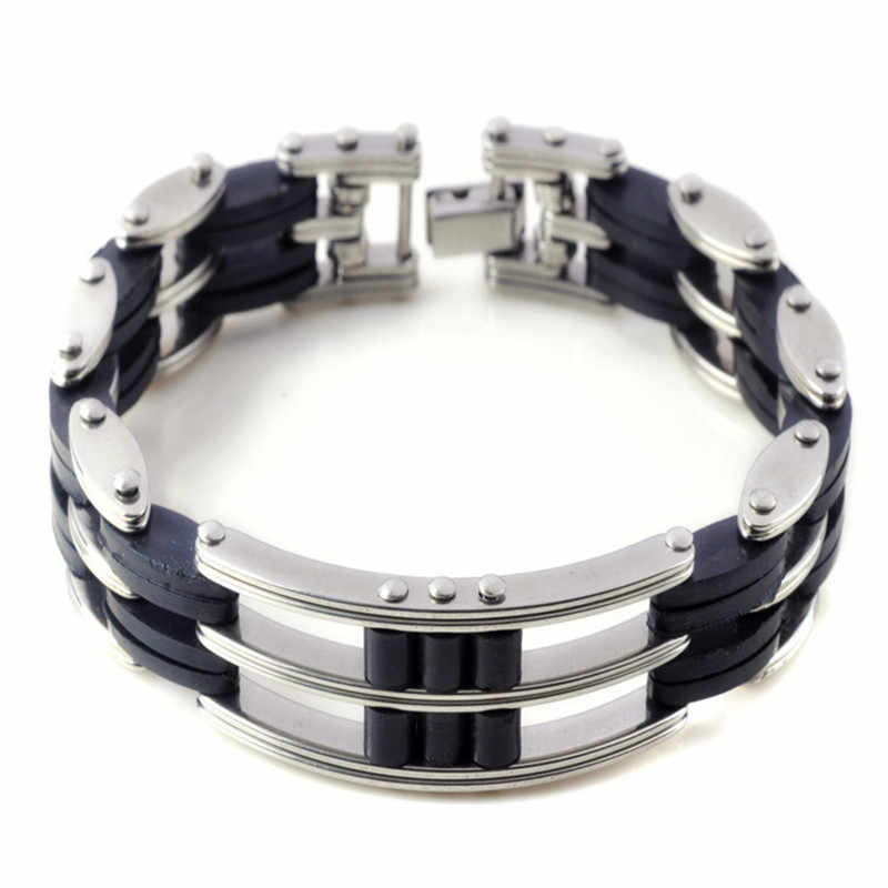 MD Men's Stainless Steel Bicycle Bracelet Silicone Bracelet Fashion Metal Bracelet