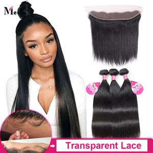 Meetu Straight Bundles With Closure Malaysian Human Hair Bundles with Frontal Transparent Lace Frontal Non-Remy Hair