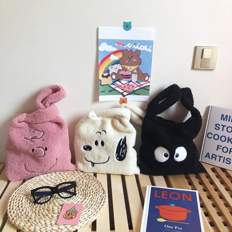 Plush Shoulder Bag Winter Cartoon Handbags Cute Face Embroidery  Hand Bag  Women Solid Color Ladies Bag Tote  28*30cm Small Bag