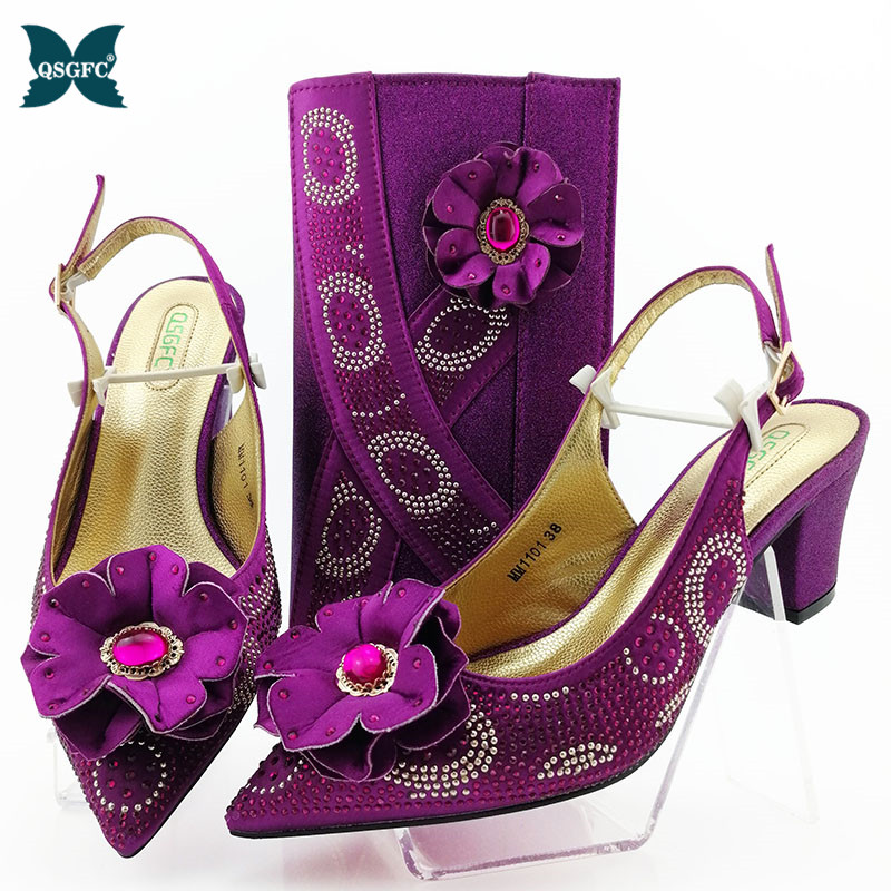 Latest Nigeria Match Shoe and Bag Italian design In Women Set High Quality Italian Match Shoe and Bag Set for Wedding