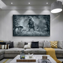 Bear and wolf fight illustration Painting on Canvas Cuadros Posters and Prints Wall Art Picture for Living Room Bedroom Decor