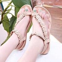 Летние женские богемные сандалии на плоской подошве; Boho; обувь с белыми цветами; женские Вьетнамки; пляжные сандалии; сандалии на плоской по...