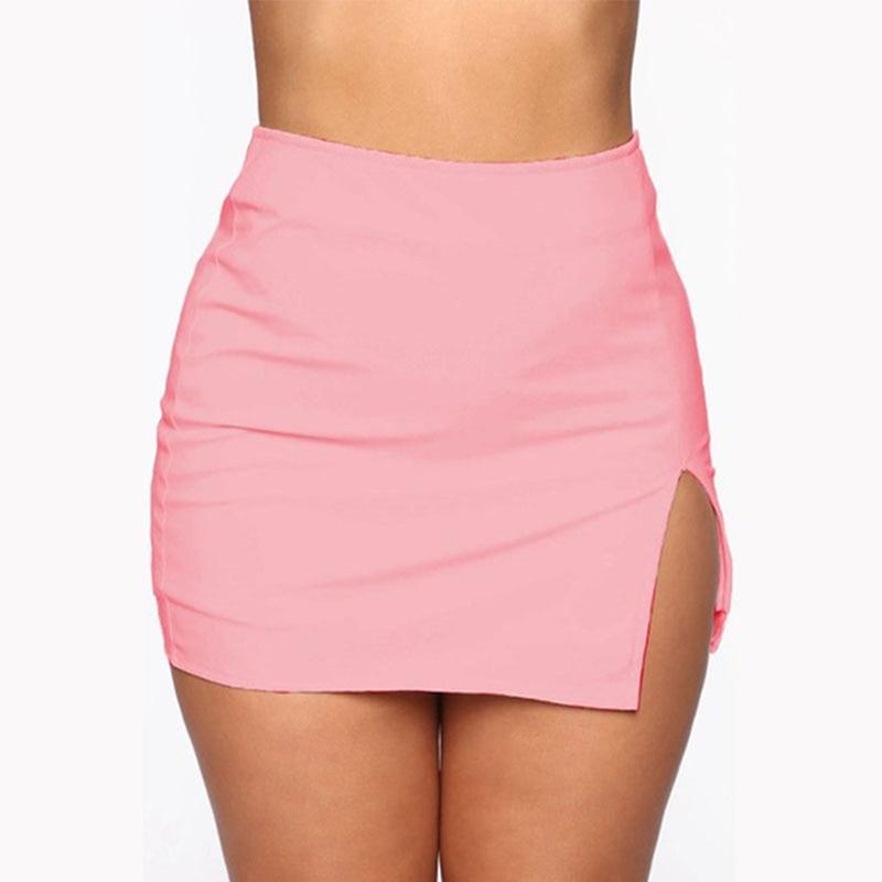 Women Mini Shirt Summer Sexy Slim Plus Size Solid Color Female Splited High Waist Pencil Skirt Club Fashion 4