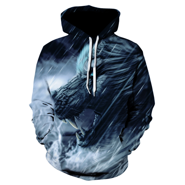 Ice Wolf hoodie street wear is sweatshirt casual hoodie 3D jumper harajuku track suit male HipHop 1
