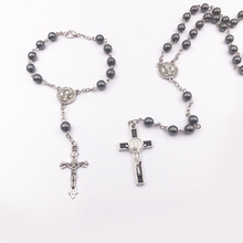 Rosary necklace Jesus christ cross pendant necklaces Alloy bead long chain mens women virgin mary christian Religious Jewelry недорого