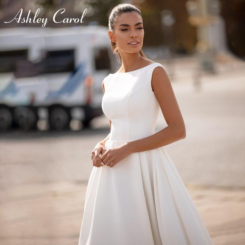 Ashley Carol Soft Satin Wedding Dress 2020 Elegant Backless Bride Dress Sleeveless Button Beach Wedding Gowns Vestido De Noiva