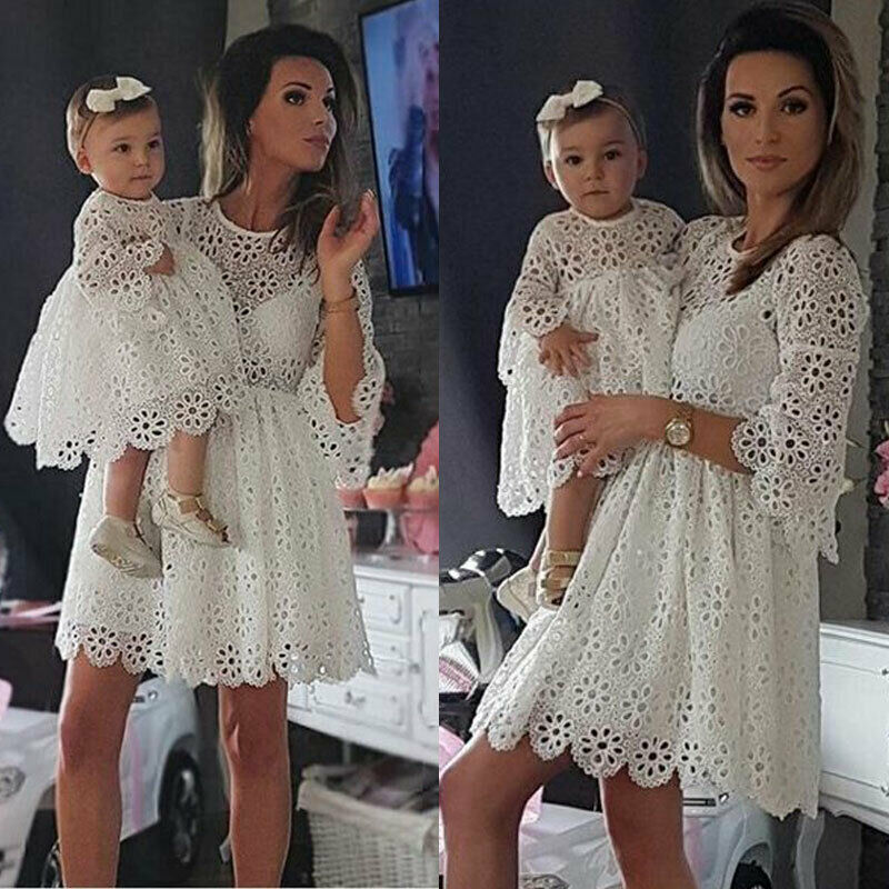 New Family Matching Clothes Women Floral Lace Dress Baby Girl Mini Dress Mom Baby Girl Party Clothes Mother Daughter Dresses