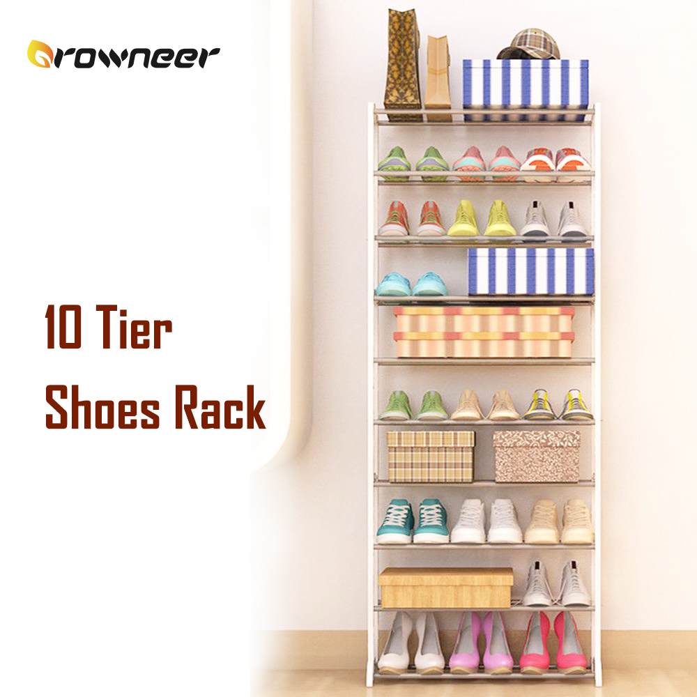 10 Tier Shoes Rack Metal Plastic Free Stand Shelf Black White Holds Open Contemporary Design Compact SturdyStorage Organization