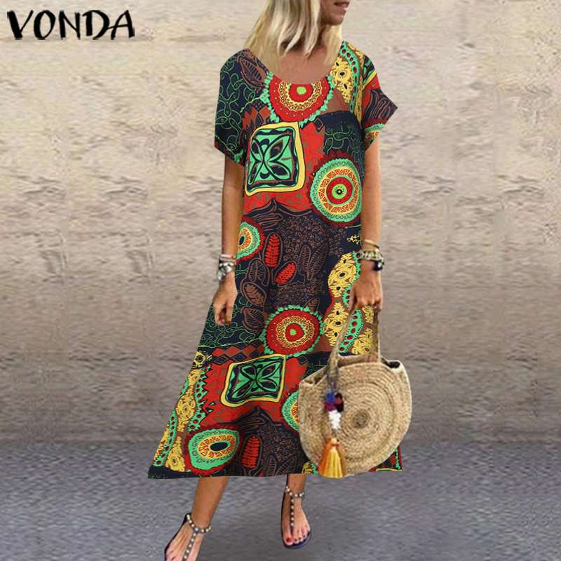 VONDA Cotton Linen Dress Women Vintage Printed Maxi Long Dress 2020 Summer Sundress Casual Robe Plus Size Vestido S-5XL