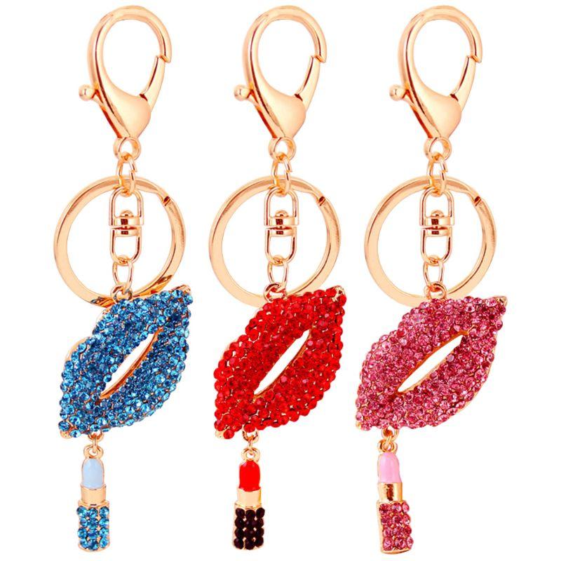 Fashion Women Girls Small Lips Shape Key Chain Pendant Lovely Shining Rhinestone Lady Charm Handbag Purse Decoration Accessories