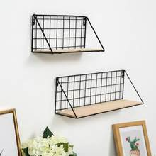 Creative New Wooden Iron Wall Shelf Wall Mounted Storage Rack Organization Bedroom Kitchen Home Kid Room DIY Wall Decor Holder(China)