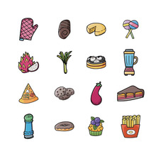 5pcs New Products Hot Fashion Cartoon Series Fries Dragon Fruit Icon Acrylic Badge Clothes Hat Decoration Accessories