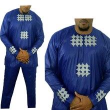 แอฟริกันผู้ชายเสื้อผ้า Bazin Riche ชุดแอฟริกันสำหรับผู้ชาย dashiki แอฟริกา Mens เสื้อผ้าเสื้อ TOP ชุดกางเกง ropa Africana hombre