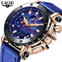 LIGE New Mens Watches Top Brand Luxury Big Dial Military Quartz Watch Blue Leather Waterproof Sports Chronograph Watch For Men